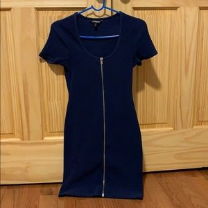 Express fitted full zip front sexy dress